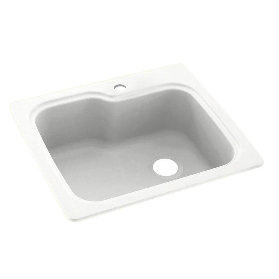 Swanstone 22.0000-in x 25.0000-in Tahiti White Single-Basin Composite Drop-in or Undermount 1-Hole Residential Kitchen Sink