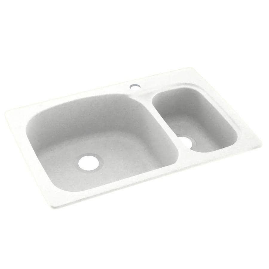 Swanstone 22-in x 33-in Tahiti White Double-Basin Composite Drop-in or Undermount 1-Hole Residential Kitchen Sink