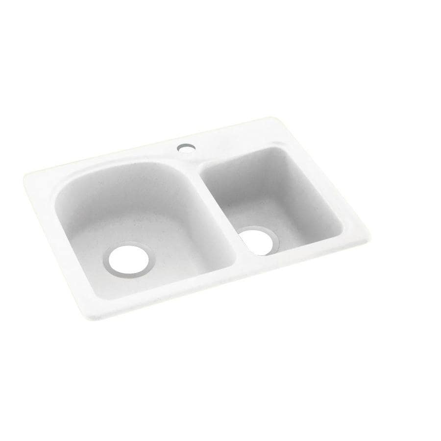 Swanstone 18-in x 25-in Tahiti White Double-Basin Composite Drop-In 1-Hole Residential Kitchen Sink