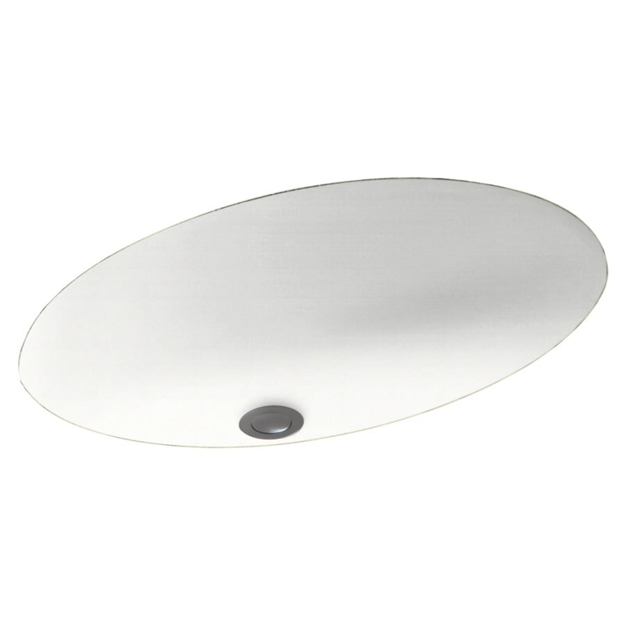 Swanstone Tahiti White Solid Surface Undermount Oval Bathroom Sink and Overflow