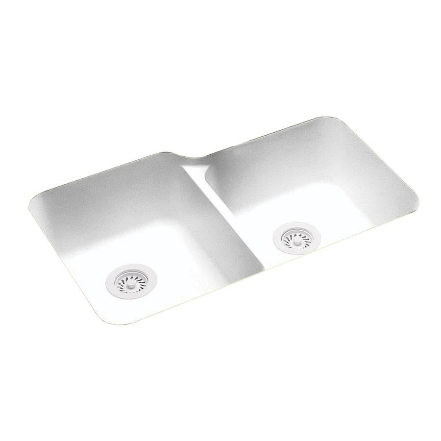 Swanstone 21.25-in x 33-in White Double-Basin Composite Undermount Residential Kitchen Sink