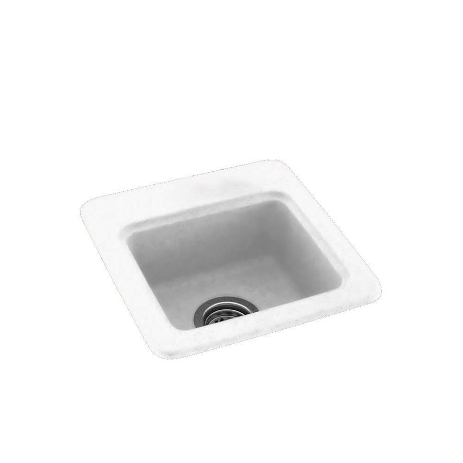 Swanstone White 1-Hole Composite Drop-in or Undermount Residential Bar Sink