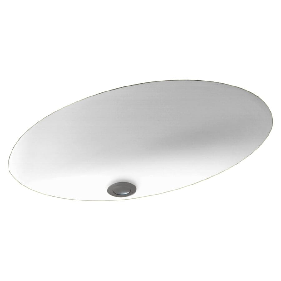 Swanstone White Solid Surface Undermount Oval Bathroom Sink and Overflow