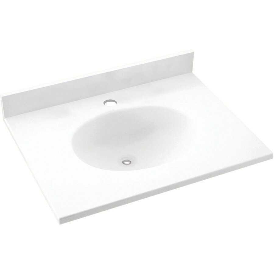 Swanstone Ellipse White Solid Surface Integral Single Sink Bathroom Vanity Top (Common: 19-in x 17-in; Actual: 19-in x 17-in)