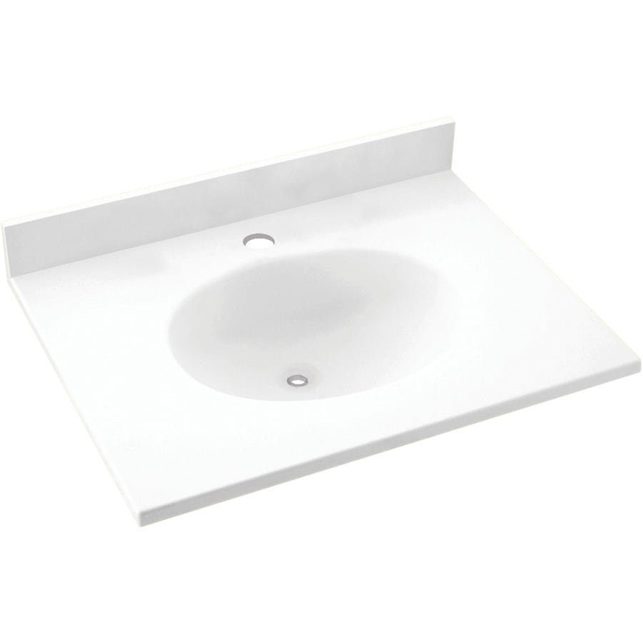 Swanstone Ellipse White Solid Surface Integral Single Sink Bathroom Vanity Top (Common: 25-in x 19-in; Actual: 25-in x 19-in)