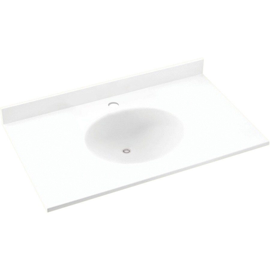 Swanstone Ellipse White Solid Surface Integral Single Sink Bathroom Vanity Top (Common: 25-in x 22-in; Actual: 25-in x 22-in)
