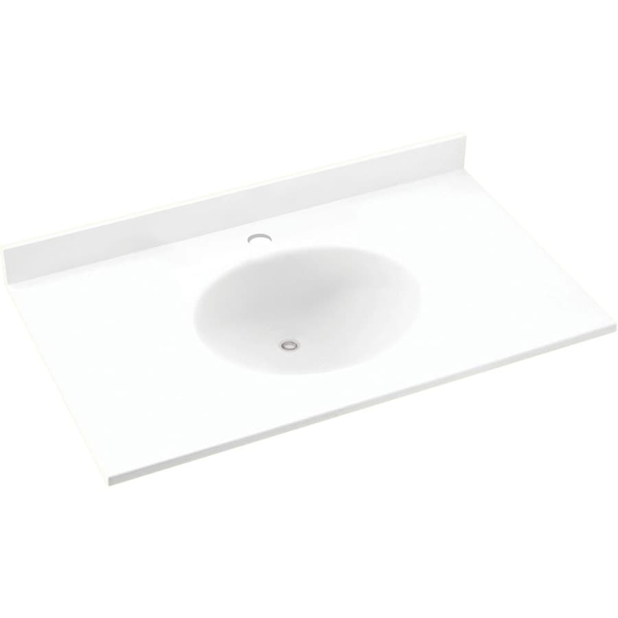 Swanstone Ellipse White Solid Surface Integral Single Sink Bathroom Vanity Top Common 55