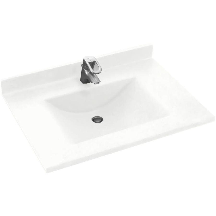 Shop swanstone contour white solid surface rectangular bathroom vanity top common 31 in x 30 - Custom solid surface bathroom vanity tops ...