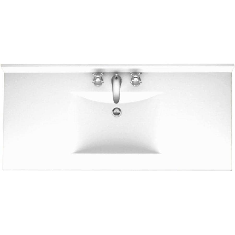 Swanstone Contour White Solid Surface Integral Single Bathroom Vanity Top (Common: 43-in x 22-in; Actual: 43-in x 22-in)