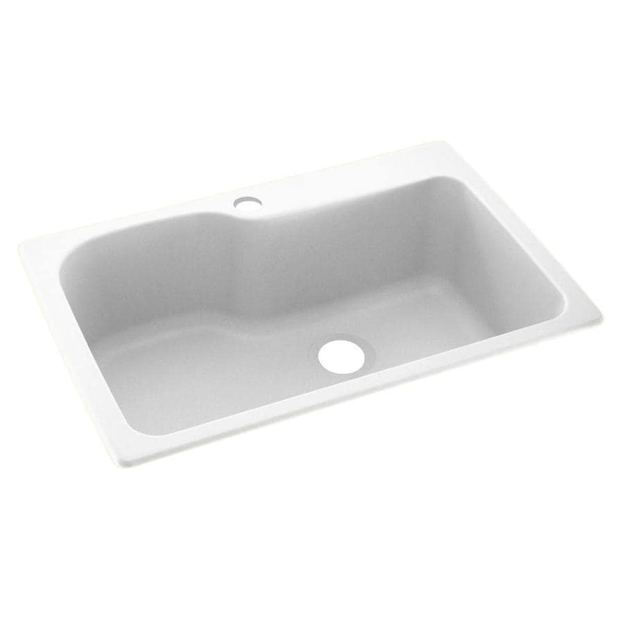 Swanstone 22.0000-in x 33.0000-in White Single-Basin Composite Drop-in or Undermount 1-Hole Residential Kitchen Sink