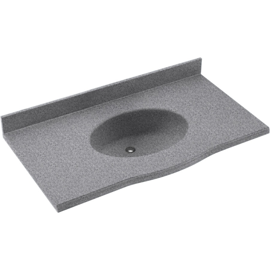 Swanstone Europa Gray Granite Solid Surface Integral Single Sink Bathroom Vanity Top (Common: 37-in x 22-in; Actual: 37-in x 22-in)