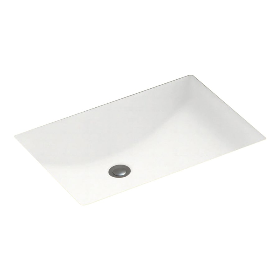Swanstone White Solid Surface Undermount Rectangular Bathroom Sink And Overflow