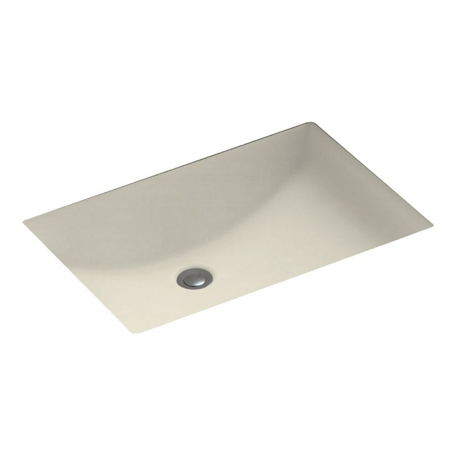 Swanstone Bone Solid Surface Undermount Rectangular Bathroom Sink and Overflow