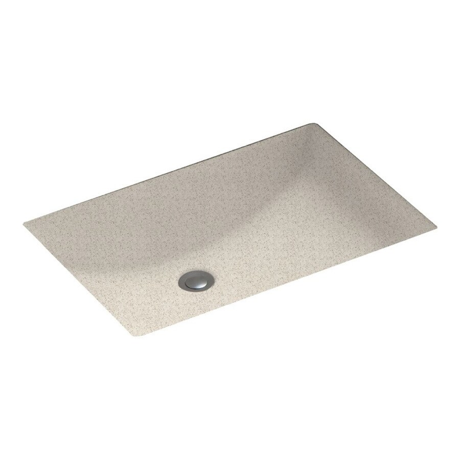 Swanstone Almond Galaxy Solid Surface Undermount Rectangular Bathroom Sink and Overflow