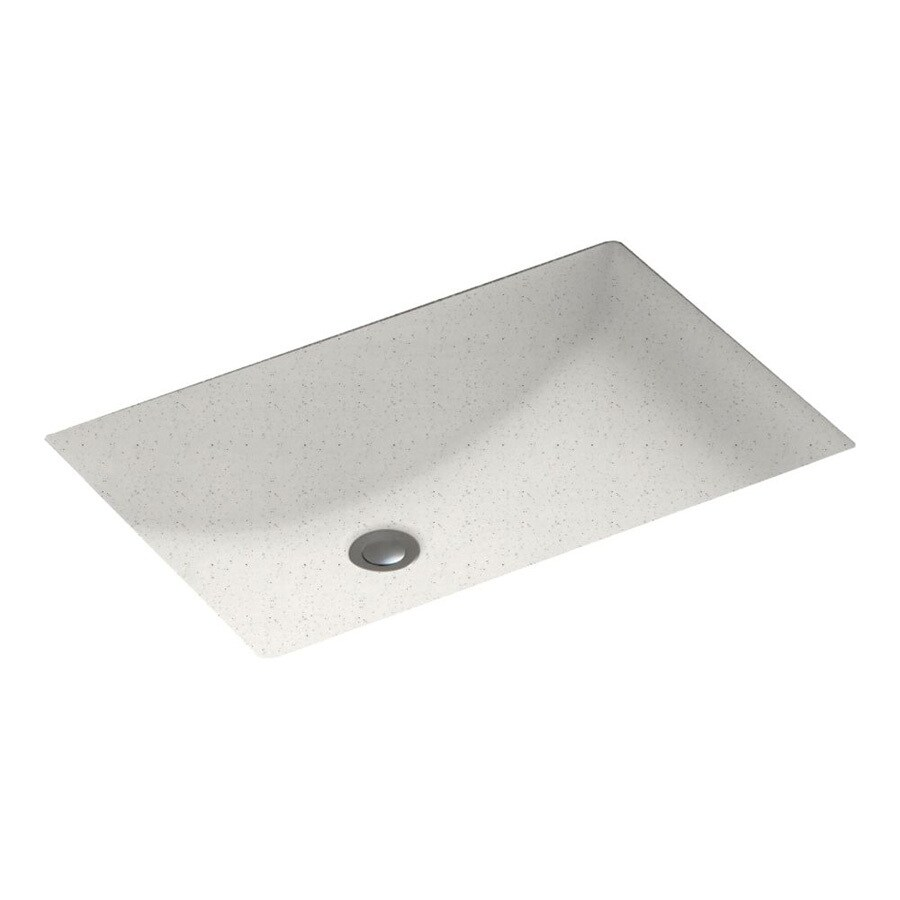 Swanstone Tahiti Matrix Solid Surface Undermount Rectangular Bathroom Sink and Overflow