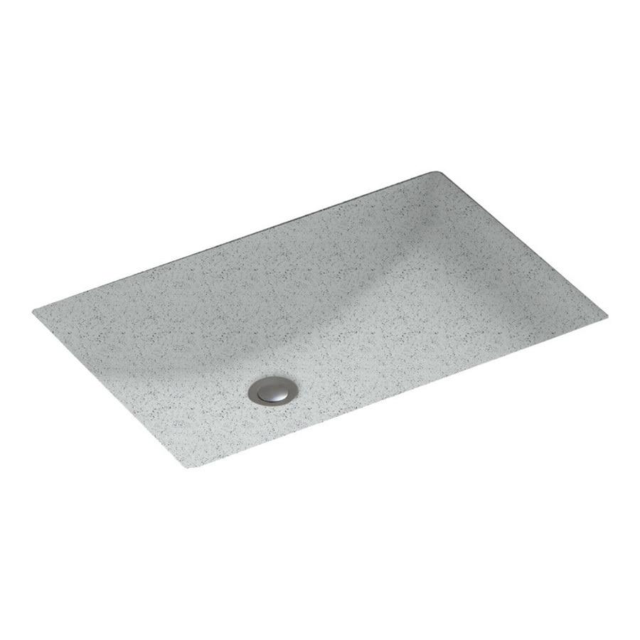 Swanstone Tahiti Gray Solid Surface Undermount Rectangular Bathroom Sink and Overflow