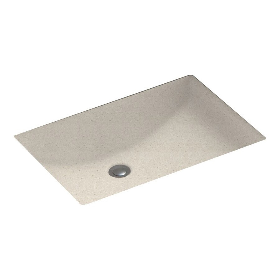 Swanstone Tahiti Sand Composite Undermount Rectangular Bathroom Sink with Overflow