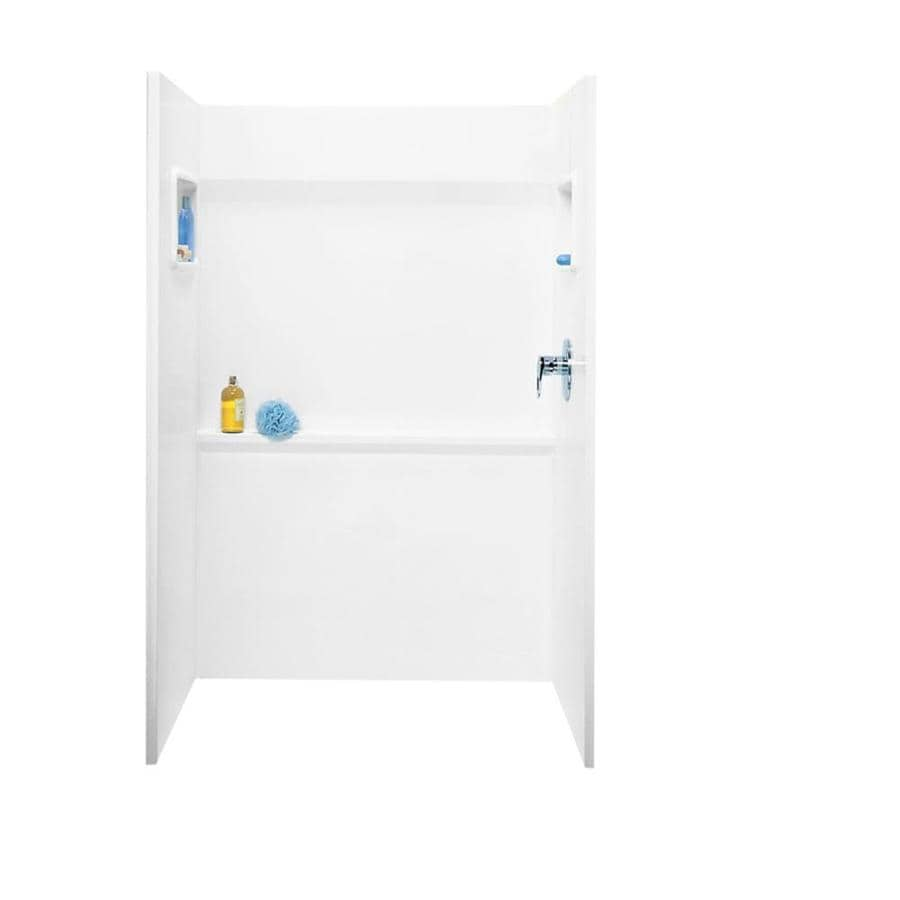 Swanstone White Fiberglass and Plastic Composite Shower Wall Surround Side and Back Panels (Common: 34-in x 48-in; Actual: 72-in x 34-in x 48-in)