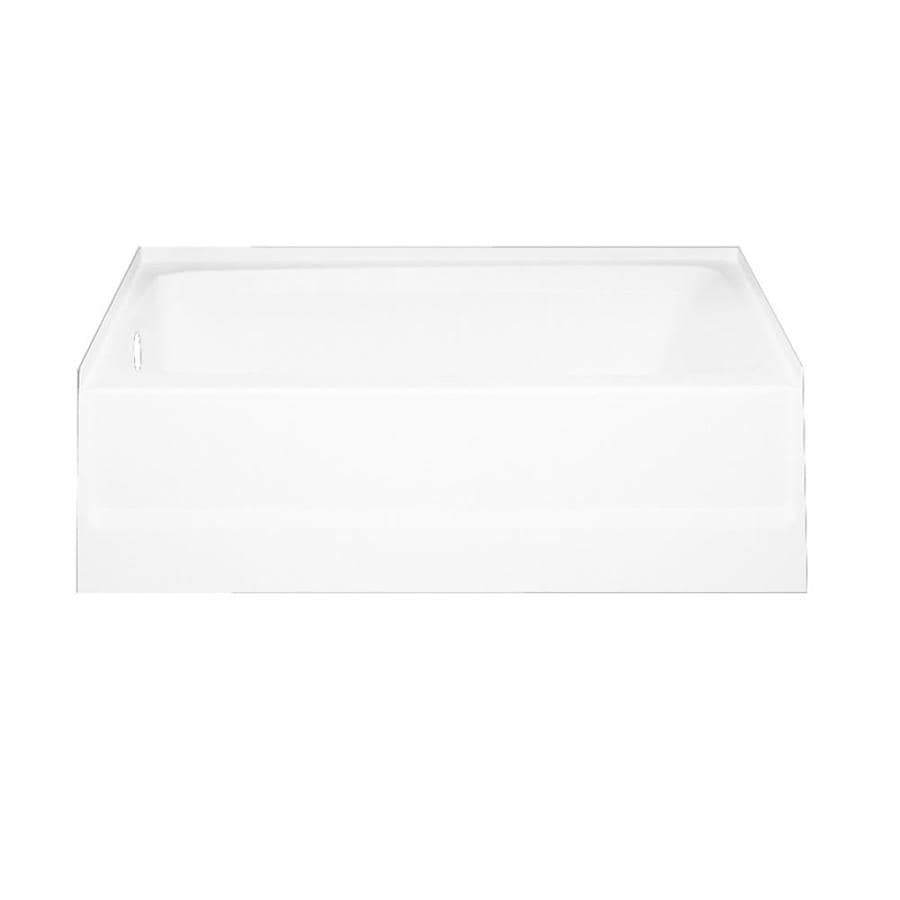 Swanstone Veritek White Fiberglass and Plastic Composite Rectangular Skirted Bathtub with Left-Hand Drain (Common: 30-in x 60-in; Actual: 16-in x 30-in x 60-in)