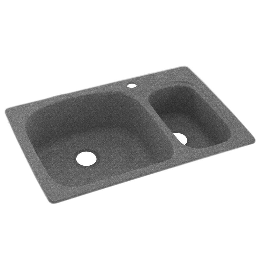 Swanstone 22.0000-in x 33.0000-in Night Sky Double-Basin Composite Drop-in or Undermount 1-Hole Residential Kitchen Sink