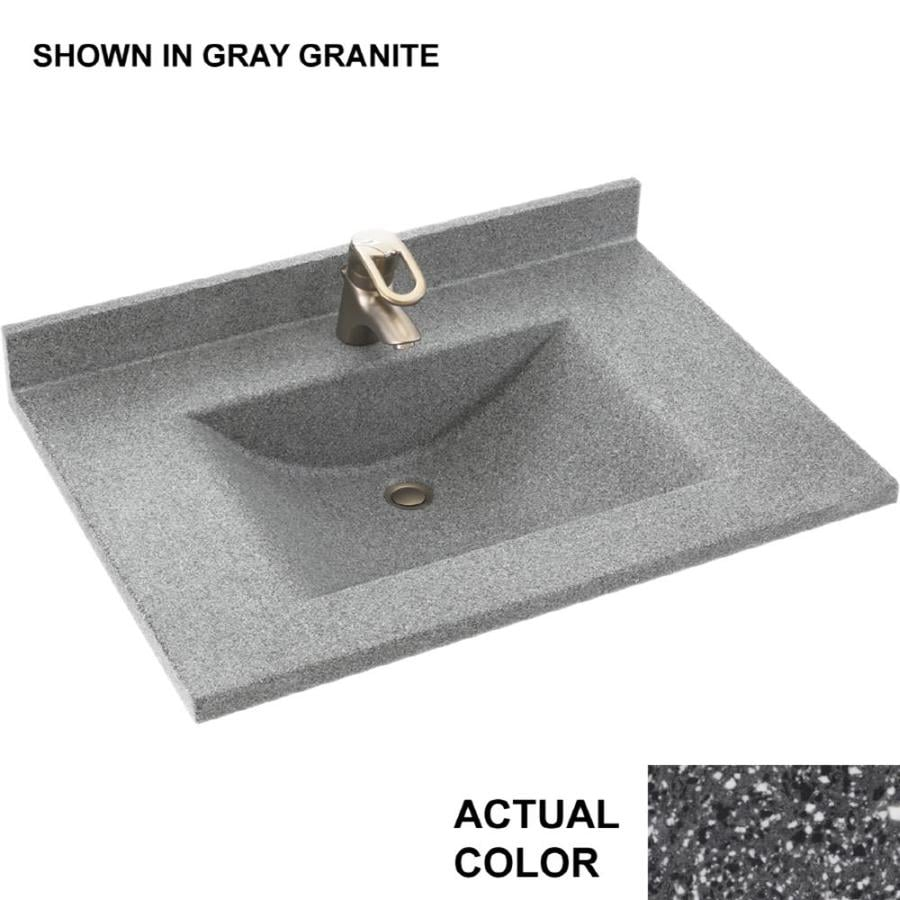 Swanstone Contour Night Sky Solid Surface Integral Single Sink Bathroom Vanity Top (Common: 25-in x 22-in; Actual: 25-in x 22-in)