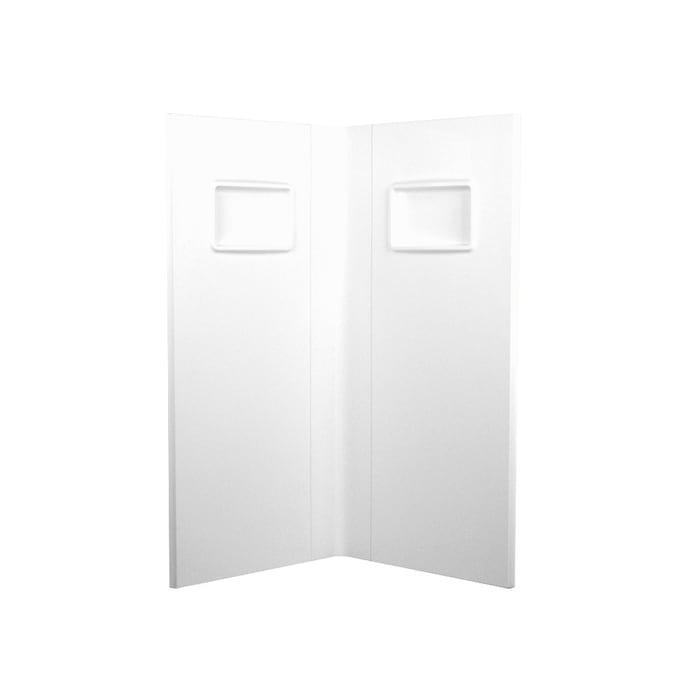 swanstone white fiberglass and plastic composite shower