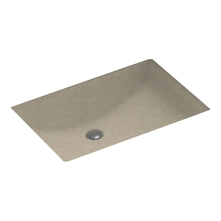 Swanstone Winter Wheat Solid Surface Undermount Rectangular Bathroom Sink and Overflow