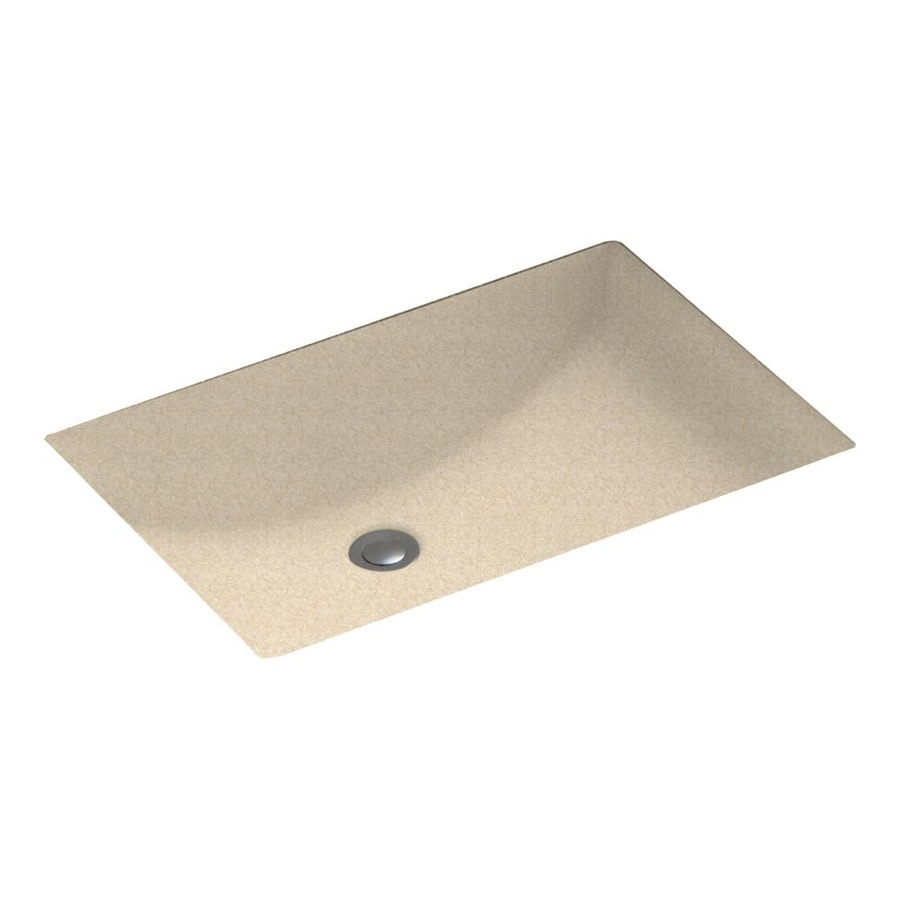 Swanstone Cornflower Solid Surface Undermount Rectangular Bathroom Sink and Overflow