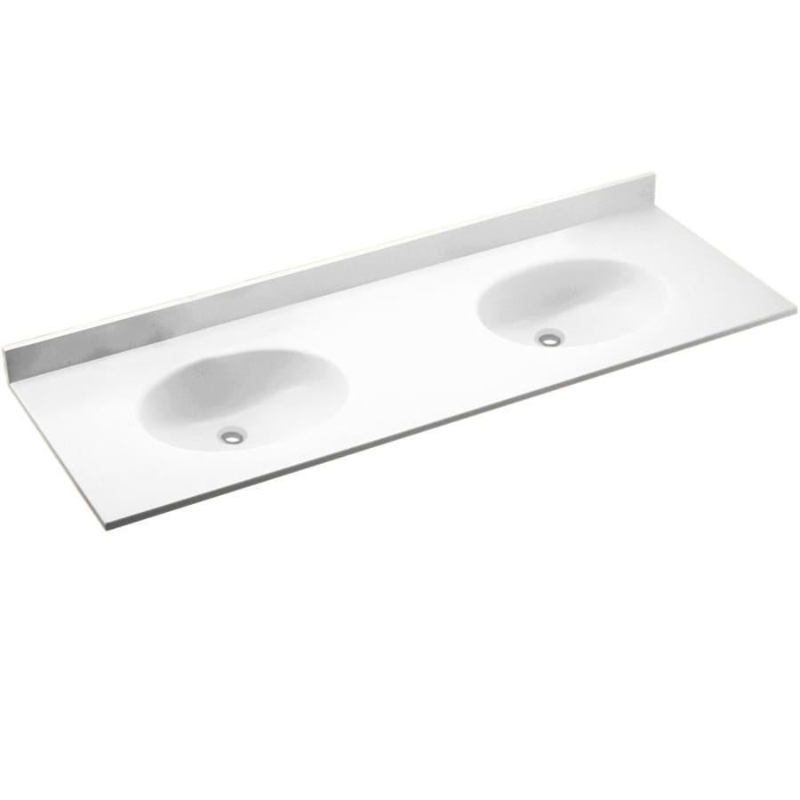 Swanstone Chesapeake White Solid Surface Oval Bathroom Vanity Top Common 73 In X