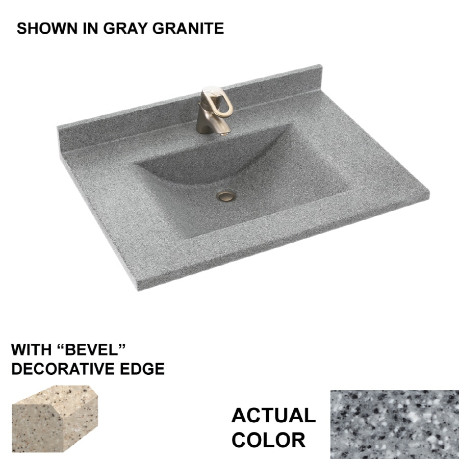Swanstone Contour Gray Granite Solid Surface Integral Single Sink Bathroom Vanity Top (Common: 31-in x 22-in; Actual: 31-in x 22-in)