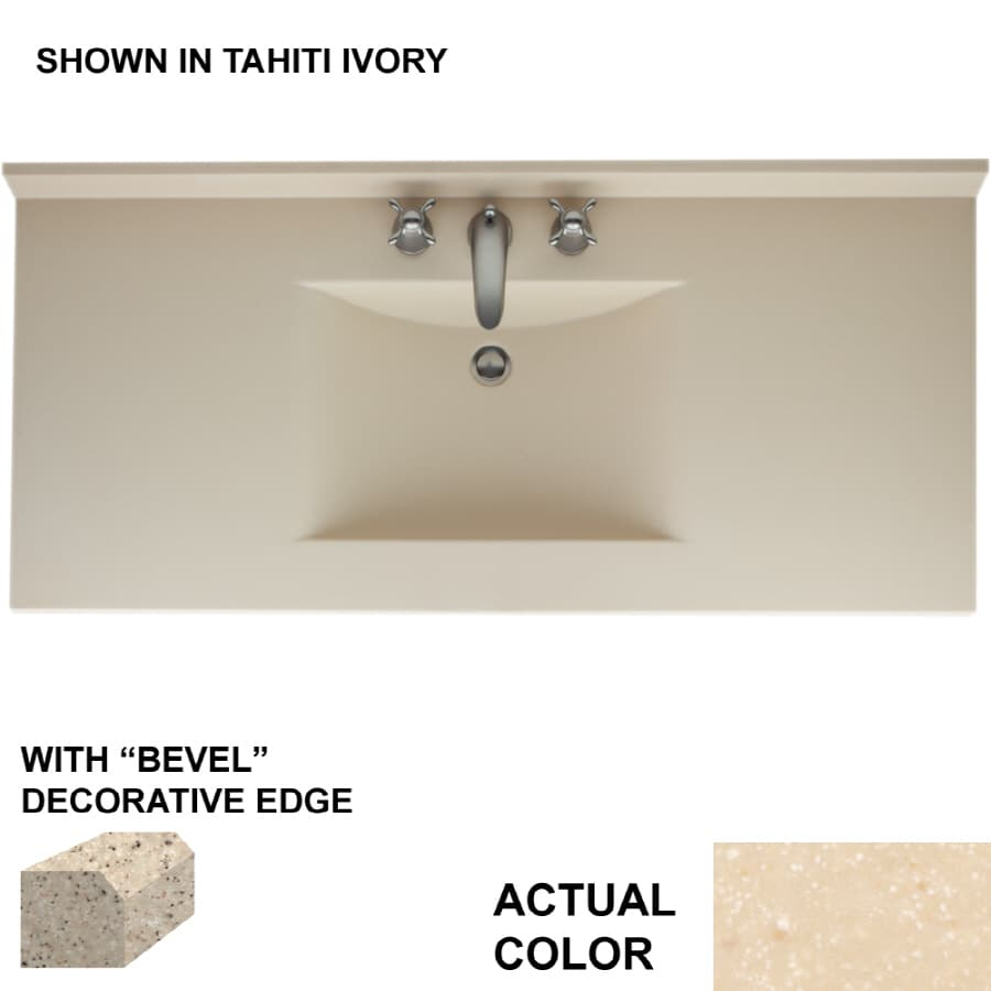 Swanstone Contour Tahiti Terra Solid Surface Integral Single Sink Bathroom Vanity Top (Common: 49-in x 22-in; Actual: 49-in x 22-in)