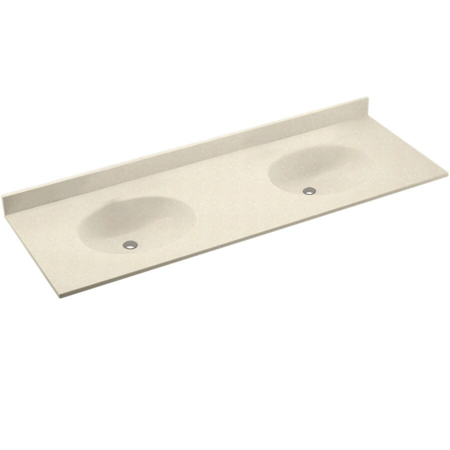 Swanstone Chesapeake Pebble Solid Surface Integral Double Sink Bathroom Vanity Top (Common: 73-in x 22-in; Actual: 73-in x 22-in)