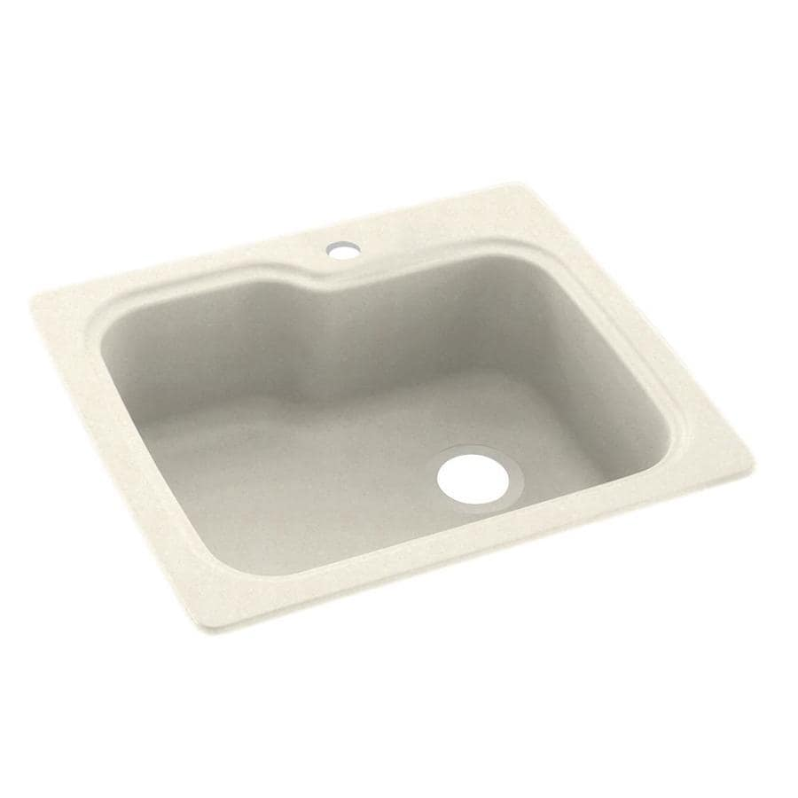 Swanstone 22-in x 25-in Pebble Single-Basin Composite Drop-In Or Undermount 1-Hole Residential Kitchen Sink