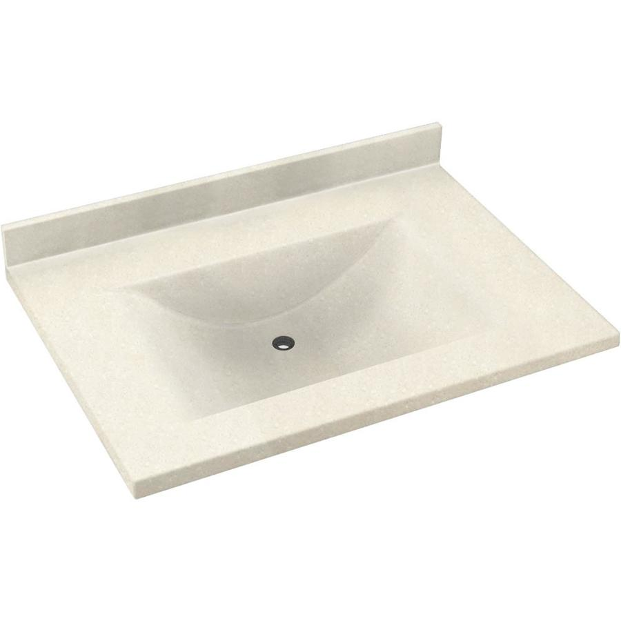 Swanstone Contour Pebble Solid Surface Integral Single Sink Bathroom Vanity Top (Common: 37-in x 22-in; Actual: 37-in x 22-in)