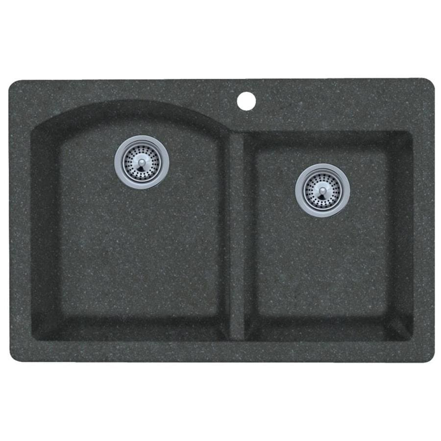 SWAN 22-in x 33-in Nero Double-Basin Granite Drop-in or Undermount 1-Hole Residential Kitchen Sink