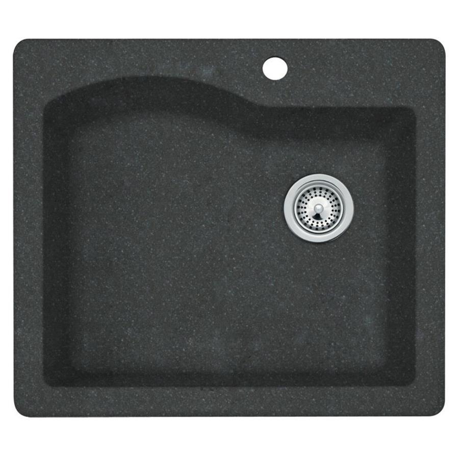 SWAN 22-in x 25-in Nero Single-Basin Granite Drop-in or Undermount 1-Hole Residential Kitchen Sink