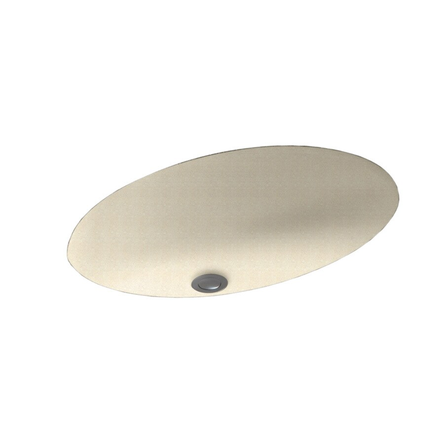 Swanstone Pebble Solid Surface Undermount Oval Bathroom Sink and Overflow