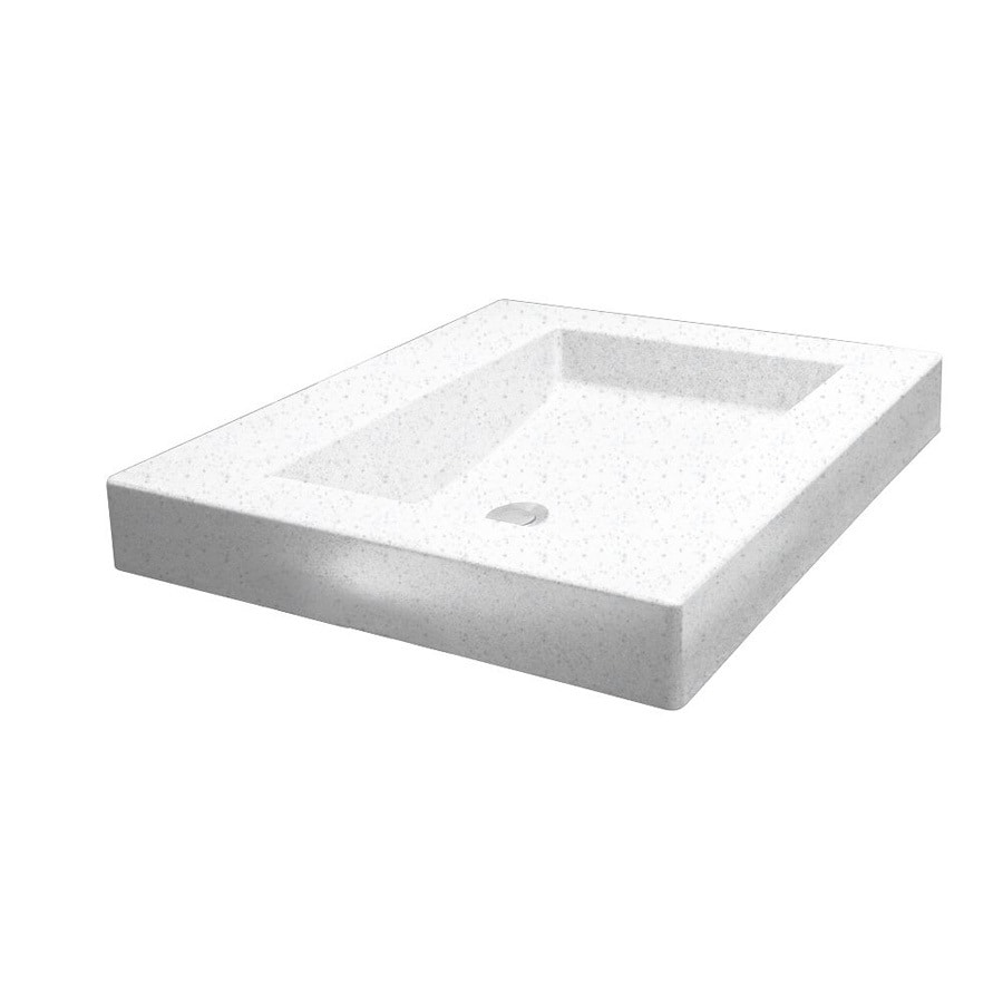 Swanstone Palladio White Solid Surface Vessel Rectangular Bathroom Sink and Overflow