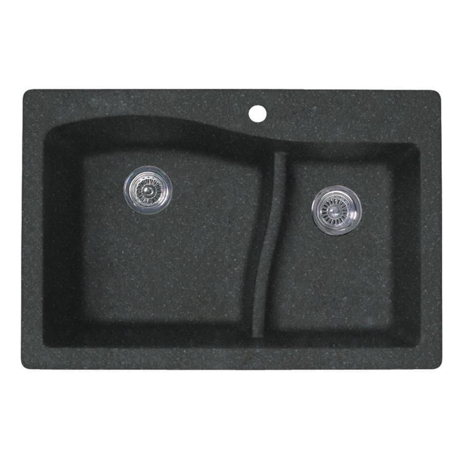 SWAN 22-in x 33-in Nero Double-Basin Granite Drop-In Or Undermount 1-Hole Residential Kitchen Sink
