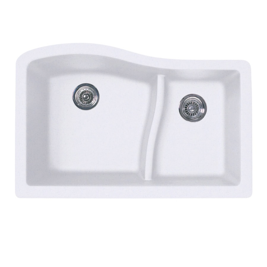 SWAN 21-in x 32-in Bianca Single-Basin-Basin Granite Undermount (Customizable)-Hole Residential Kitchen Sink
