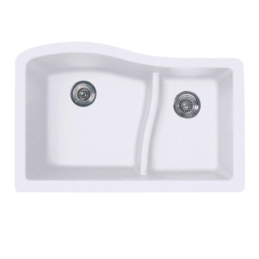 SWAN 21-in x 32-in Bianca Double-Basin Granite Undermount Residential Kitchen Sink