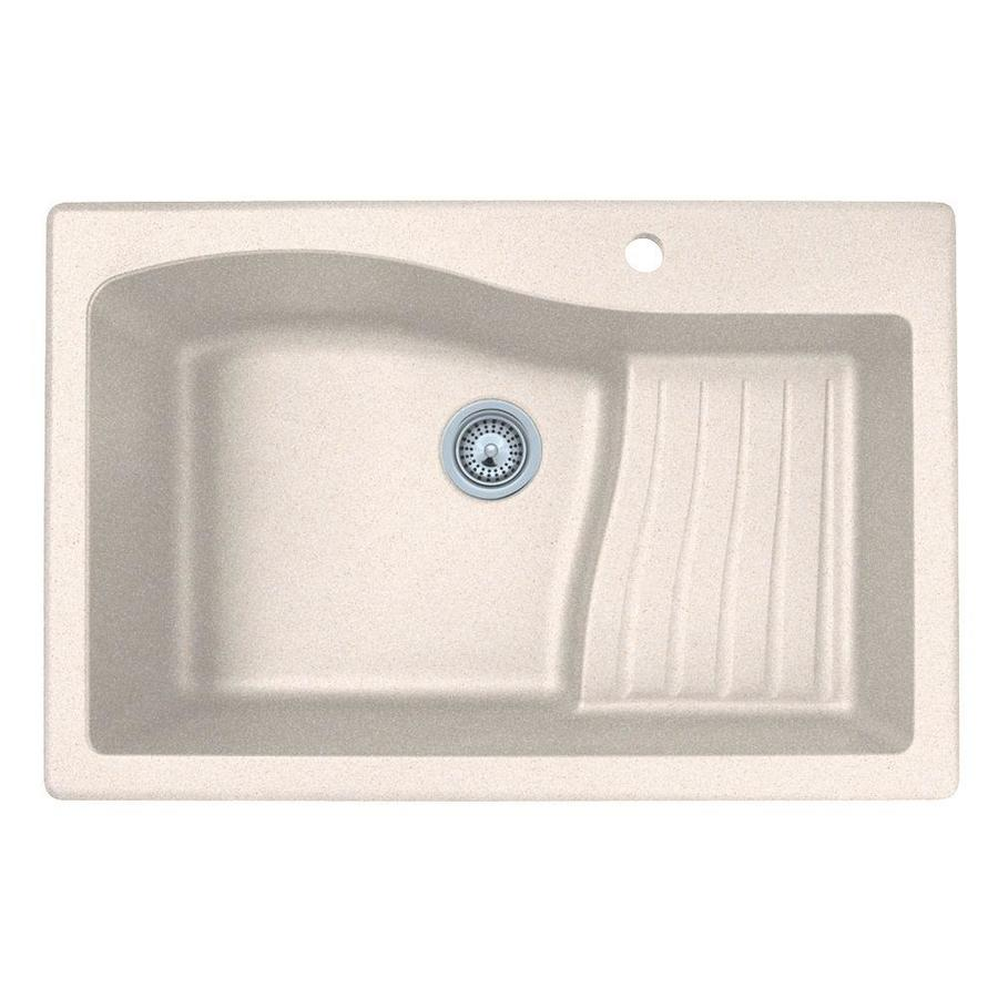 SWAN 22-in x 33-in Granito Single-Basin Granite Drop-in or Undermount 1-Hole Residential Kitchen Sink Drainboard Included