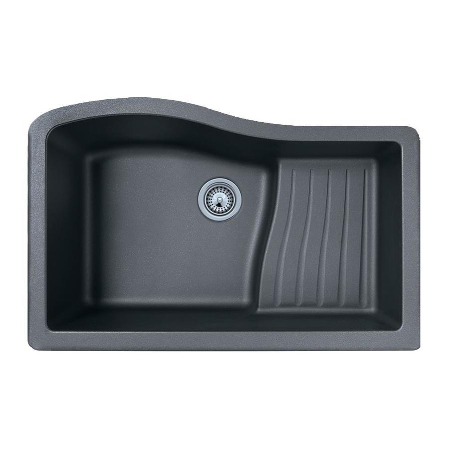 SWAN 21-in x 32-in Nero Single-Basin Granite Undermount Residential Kitchen Sink with Drainboard