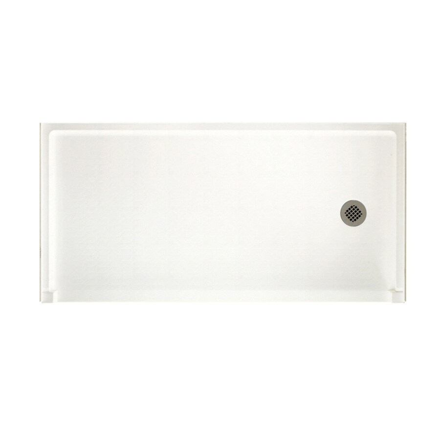 Swanstone Tahiti White Solid Surface Shower Base (Common: 30-in W x 60-in L; Actual: 30-in W x 60-in L)
