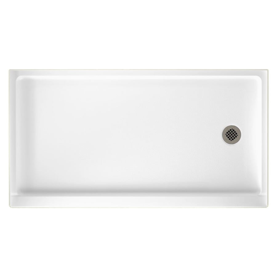 Swanstone White Solid Surface Shower Base (Common: 32-in W x 60-in L; Actual: 32-in W x 60-in L) with Right Drain