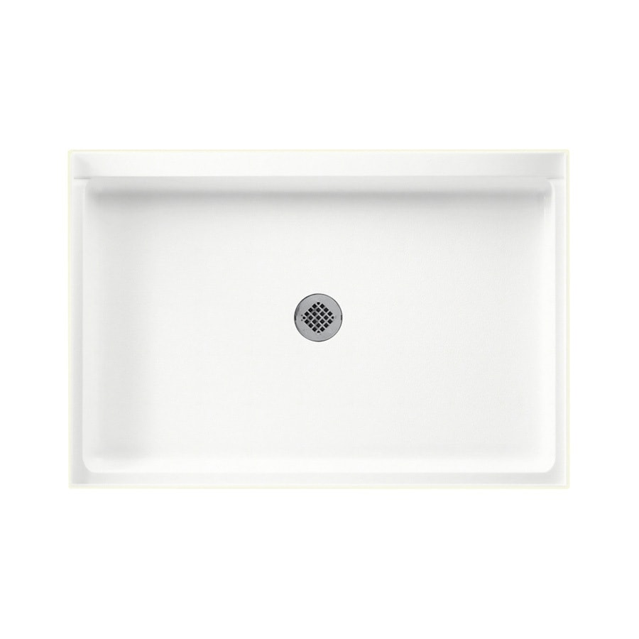 Swanstone Tahiti White Solid Surface Shower Base (Common: 32-in W x 48-in L; Actual: 32-in W x 48-in L)