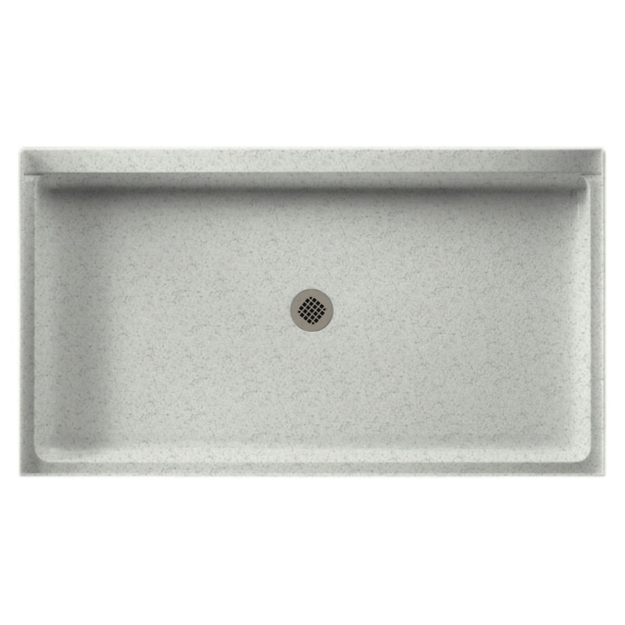 Swanstone Tahiti Gray Solid Surface Shower Base (Common: 32-in W x 60-in L; Actual: 32-in W x 60-in L)