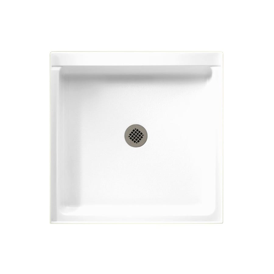 Swanstone White Solid Surface Shower Base (Common: 42-in W x 36-in L; Actual: 36-in W x 42-in L)