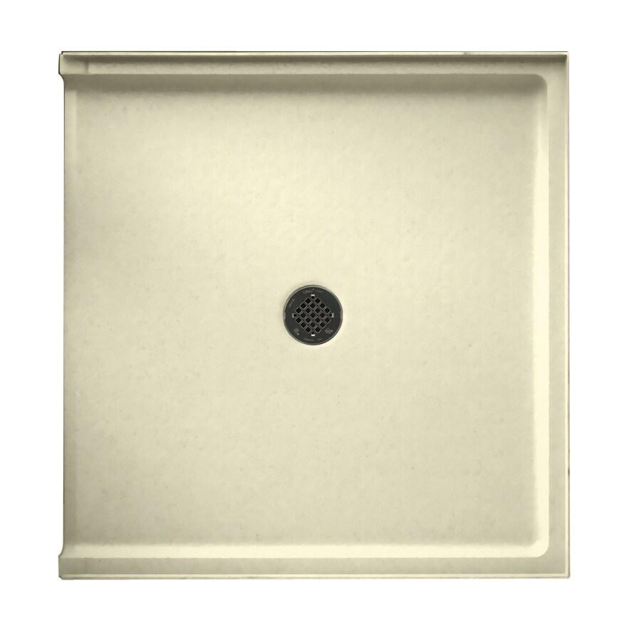 Swanstone Bone Fiberglass and Plastic Composite Shower Base (Common: 38-in W x 37-in L; Actual: 37-in W x 38-in L)
