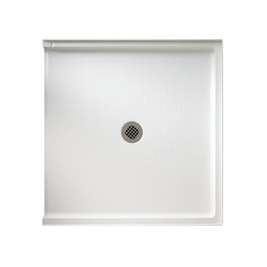 Swanstone White Fiberglass and Plastic Composite Shower Base (Common: 38-in W x 37-in L; Actual: 37-in W x 38-in L)
